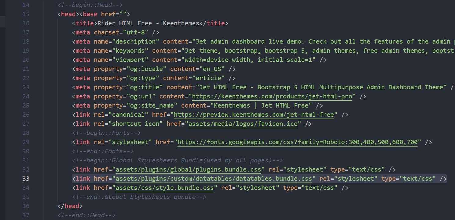 datatable CSS bundle