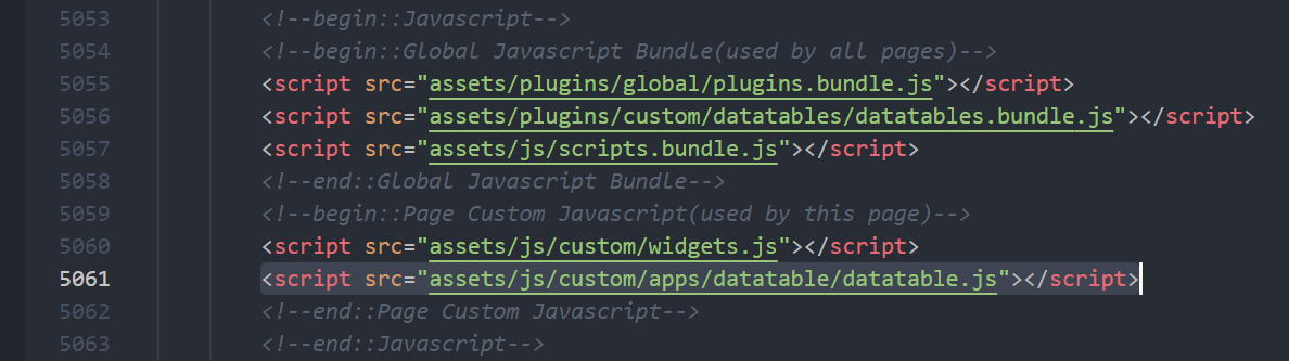 data tables main js
