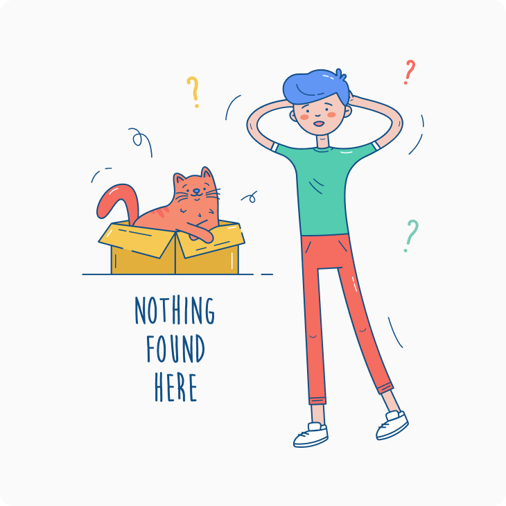 nothing found cat in the box illustration
