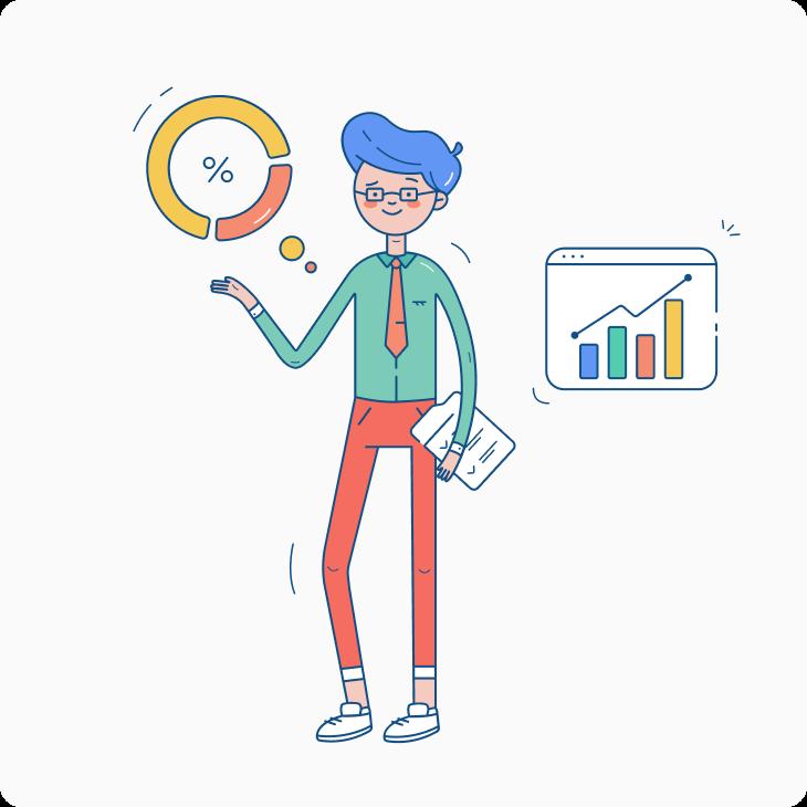 man showing statistics and charts illustration