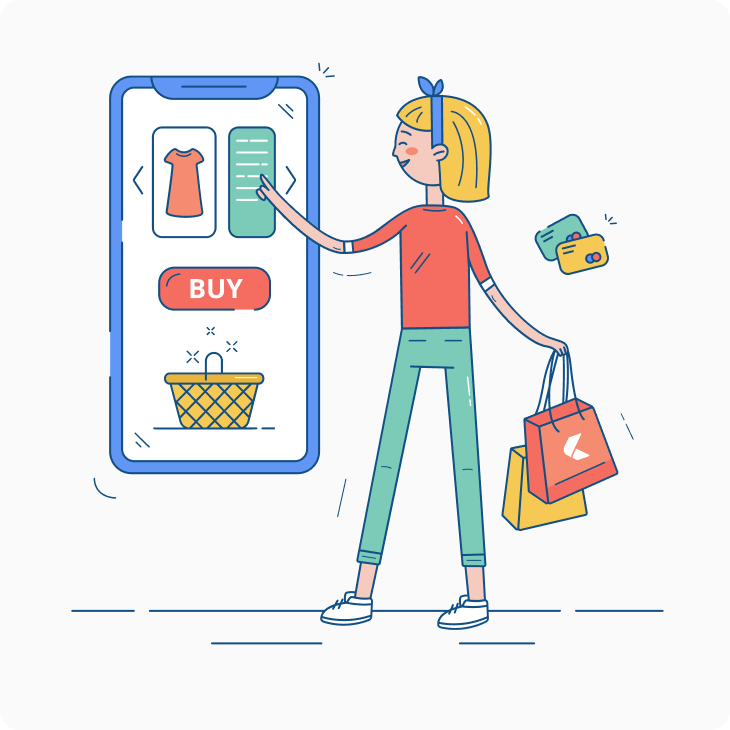 woman with bags choosing goods at online shop