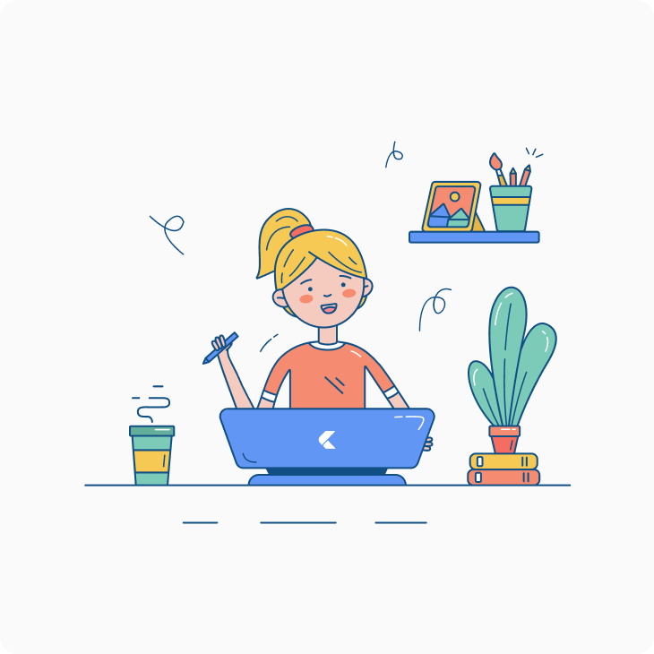 Happy woman in her workspace illustration