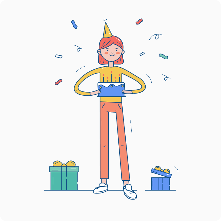 Happy woman with her birthday presents illustration