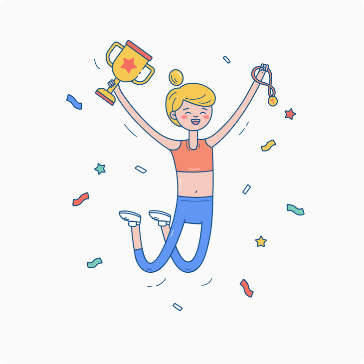 Winning woman celebrates with her trophy and medal illustration