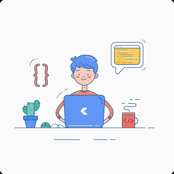 Developer is coding at his desk illustration