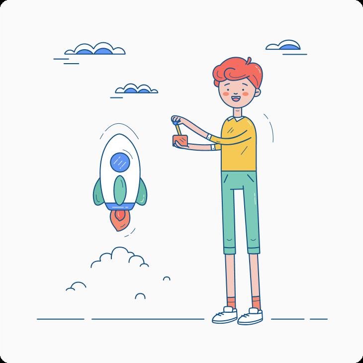 Boy launching a rocket illustration
