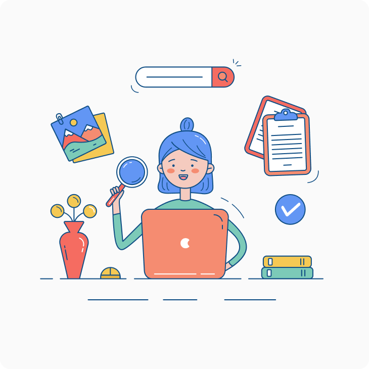 woman search information at laptop illustration
